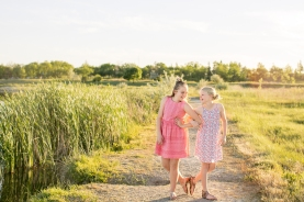 best friends peach dress fun poses- Williston Children photograhy